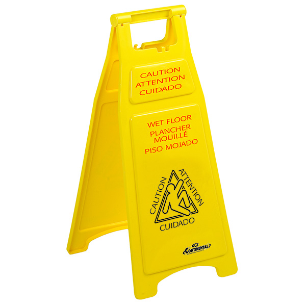"119  ""CAUTION"" Wet Floor Sign- 26"" (Trilingual), 1/ea"