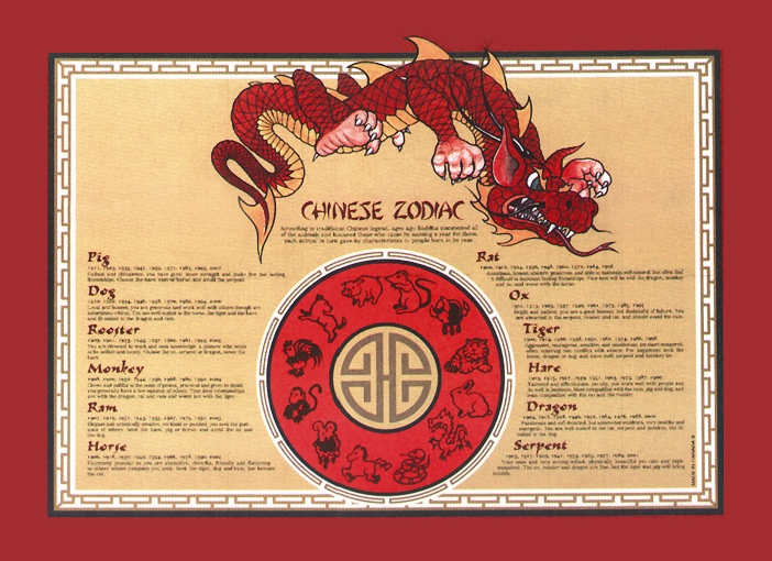 "496G PLACEMAT Dragon Zodiac 9.5""x13.5"" 1000/cs"