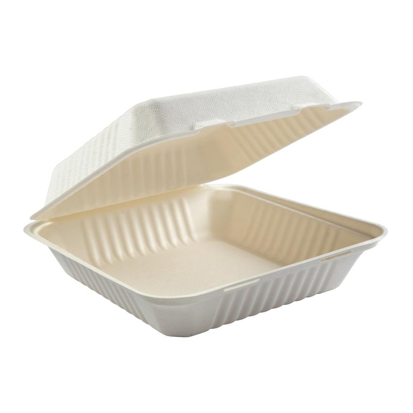 "HP-BAG-9CLM-C CONTAINER Hinged  Bagasse Hypax 9""x 9""x 2.5"""