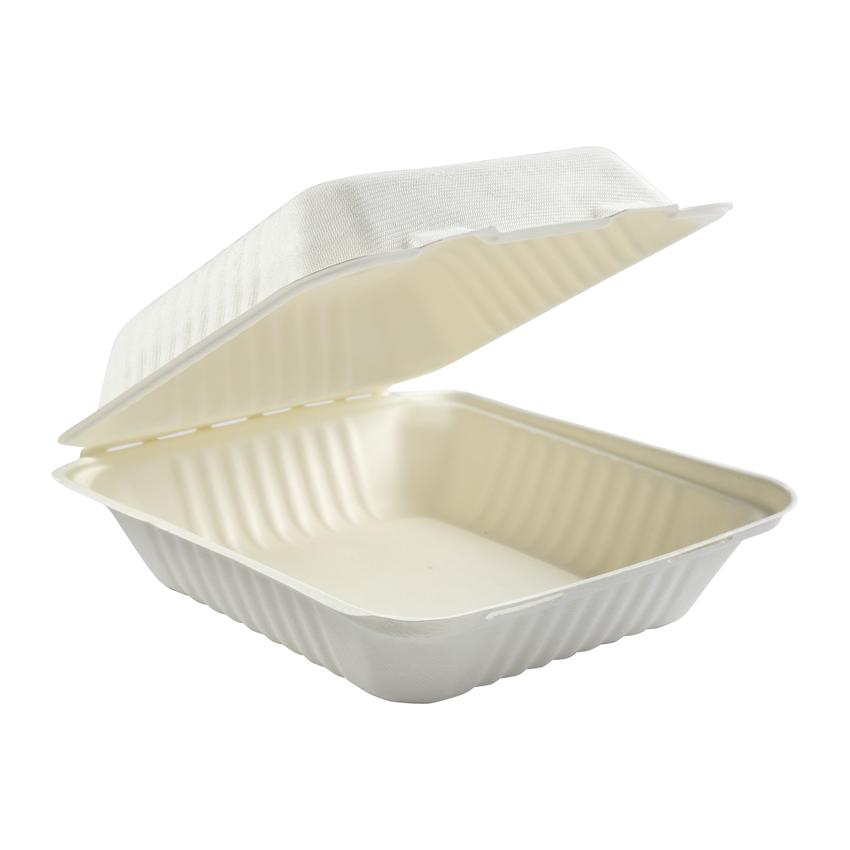 "HP-BAG-8CLM-C CONTAINER Hinged  Bagasse Hypax 8""x 8""x 2.5"""
