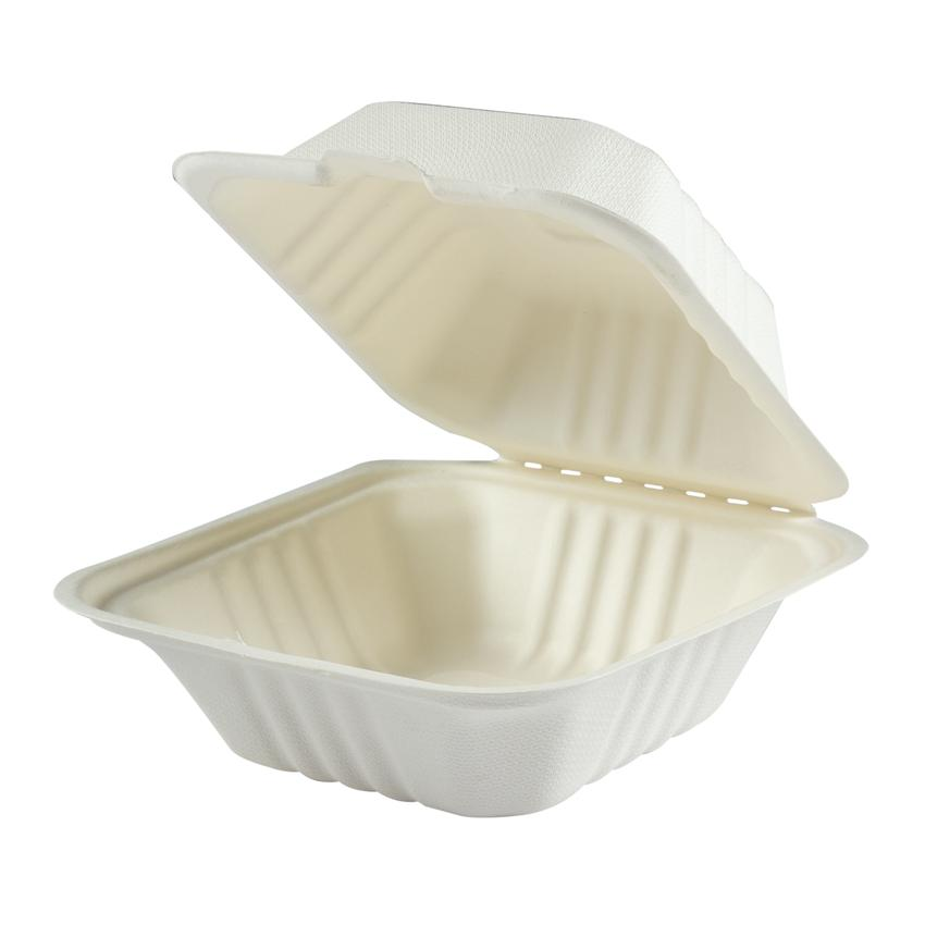 "HP-BAG-6CLM-C CONTAINER Hinged  Bagasse Hypax 6""x 6""x 3"""