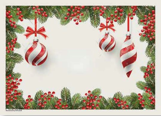 * 9NO-305-49, HOLIDAY ORNAMENTS PLACEMAT, 1M/CS