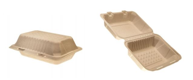 37718 FSTP1 CONTAINER Molded  Fibre Hinged Hoagie Earthcycle