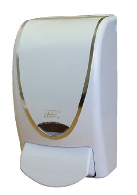 CHR1LDS SOAP DISPENSER PROLINE  1L WHITE w/Chrome Border and