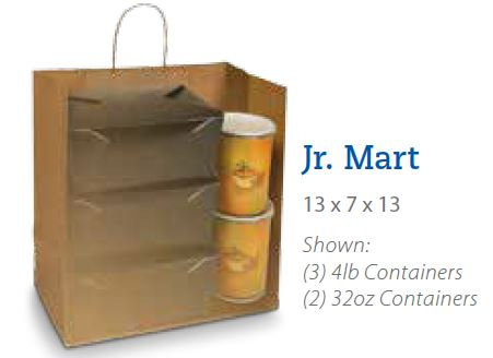 "(!) 87523 BAG Kraft w/ Handle ""JR MART"" 13""x 7""x 13"" 250/cs"