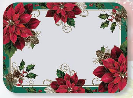 "* 832799 TRAY MAT Traditional Poinsettia 13-5/8""x 18-3/4"""