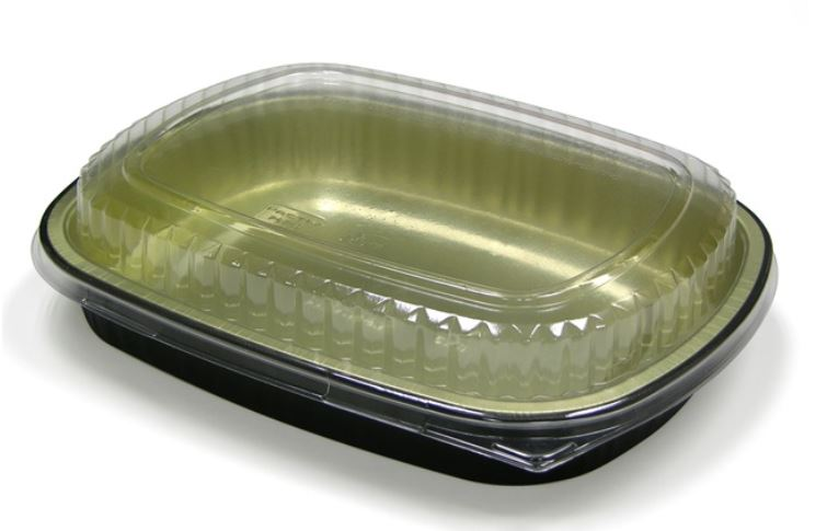 6711WP CONTAINER 60oz  Carry Out Tray Gold/Black Base