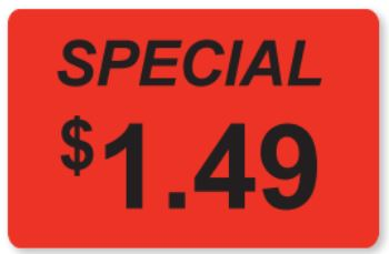 * 0411, Special $1.49 Labels 300/rl
