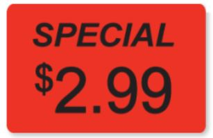 * 0428, Special $2.99 Labels 325/rl