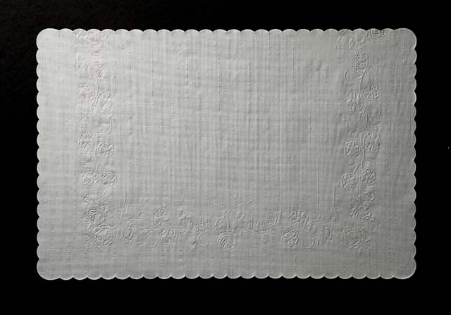 "204-001 PLACEMAT Seville Rose Embossed Newsprint 10""x14"""